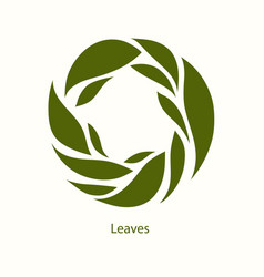 leaves label abstract design round icon vector image