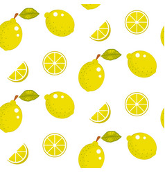 lemon with green leaves on white background vector image