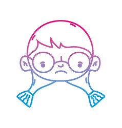 line girl head with glasses and hairstyle design vector image