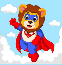 lion superhero cartoon vector image