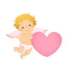 little cupid with pink heart shaped vector image