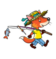 Little funny fox go fishing vector