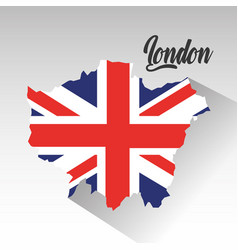 london map with england flag inside vector image