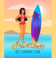 Lovely summer promo poster with girl and surfboard vector