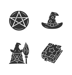 magic glyph icons set pentagram wizard hat witch vector image