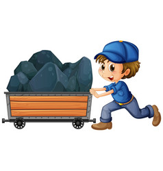 man pushing cart with stones vector image