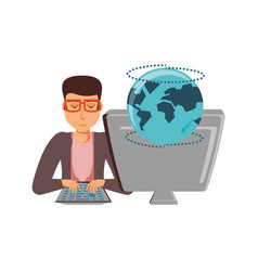 man with desktop computer and planet earth vector image