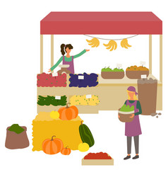 Market place with vegetables and fruit vector