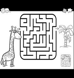 Maze activity game with giraffe and palm vector