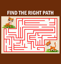 Maze game find the dog way to catch cat vector