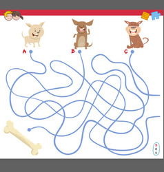 maze game with puppy characters vector image