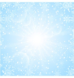 Merry Christmas Background with sun snowflakes vector image
