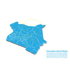 Modern of kenya map connections network design vector