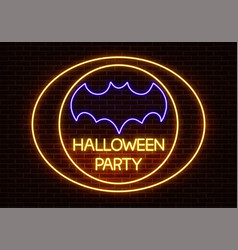 neon halloween party sign light isolated on vector image
