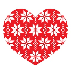 Nordic winter red heart pattern vector
