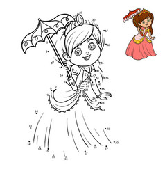 numbers game education dot to dot game princess vector image