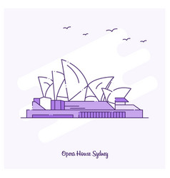 opera house landmark purple dotted line skyline vector image