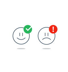 opposite emotions smile emoji sad icon customer vector image vector image