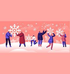 people enjoying snowfall winter holidays festive vector image