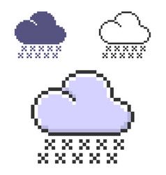 pixel icon snowfall in three variants fully vector image