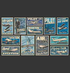 Plane fly aircraft flight aviation retro posters vector