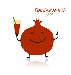 pomegranate cute character for your design vector image