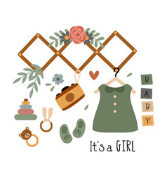 Poster with bohemian baby girl elements vector