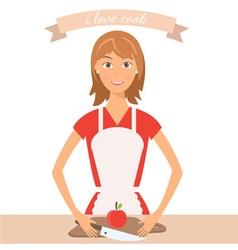 Pretty woman on kitchen vector