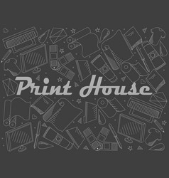 print house piece of chalk line art design vector image