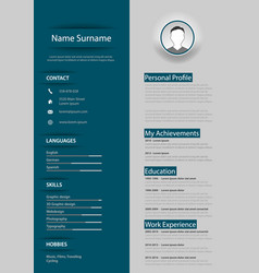 Professional blue gray resume cv with design vector