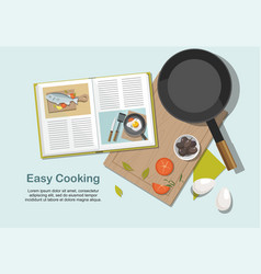 recipe book frying pan and food vector image