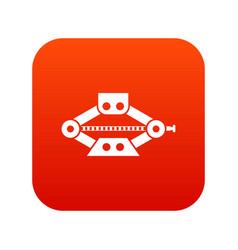 Red scissor car jack icon digital red vector