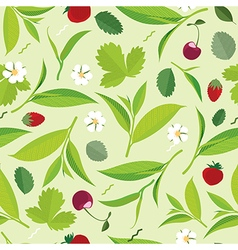 Seamless Green tea leaves pattern lemon cherry vector image