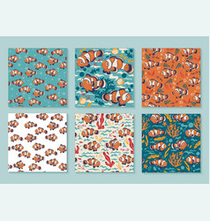 set 6 bright seamless patterns with clown fish vector image