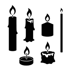 Set black and white silhouette burning candles vector