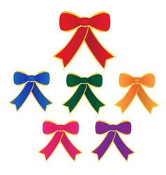 set bow with ribbon on white background vector image