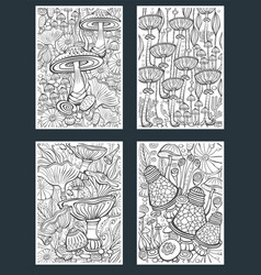 set mushrooms coloring antistress book page vector image