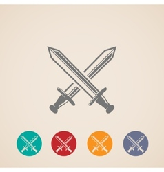 Set of crossing swords icons fight concept vector
