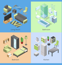 set of different furniture elements for rooms in vector image