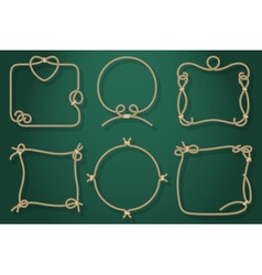 Set of Old Rope Frames in Different Unique Styles vector image