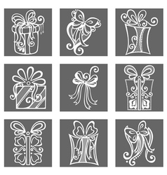 Set of Ornamental Holiday Gift vector image