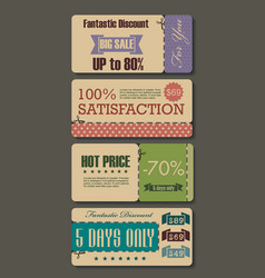 set of sale labels paper tags vintage design vector image