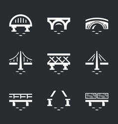 Set of various bridges icons vector
