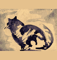 silhouette tabby on corrugated board vector image