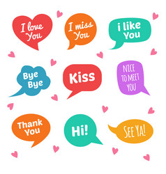 speech bubbles with text i love you i miss you vector image