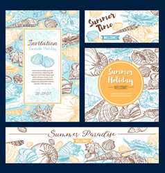 Summer paradise skethc beach holiday vacations vector