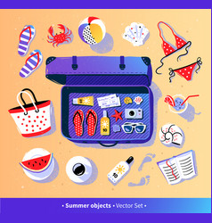 Summer vacation set with travel suitcase vector