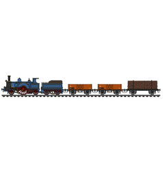 The vintage steam freight train vector