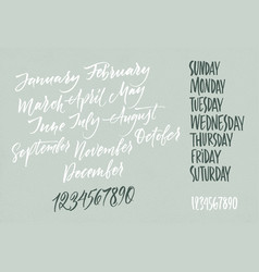 Title of months of the year days of the week vector