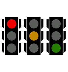 Traffic lamp silhouettes symbols can be customized vector